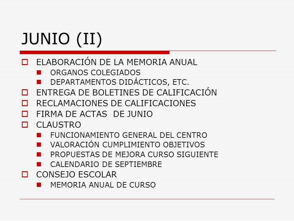 JUNIO (II) ELABORACIÓN DE LA MEMORIA ANUAL ORGANOS COLEGIADOS DEPARTAMENTOS DIDÁCTICOS, ETC. ENTREGA DE BOLETINES DE CALIFICACIÓN RECLAMACIONES DE CAL
