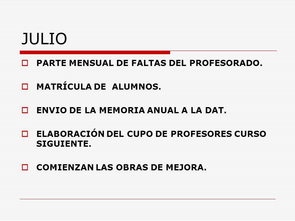 JULIO PARTE MENSUAL DE FALTAS DEL PROFESORADO. MATRÍCULA DE ALUMNOS. ENVIO DE LA MEMORIA ANUAL A LA DAT. ELABORACIÓN DEL CUPO DE PROFESORES CURSO SIGU