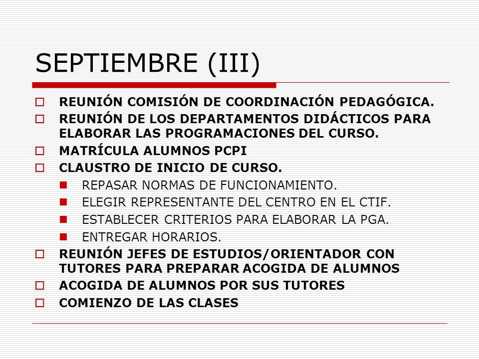 SEPTIEMBRE (III) REUNIÓN COMISIÓN DE COORDINACIÓN PEDAGÓGICA. REUNIÓN DE LOS DEPARTAMENTOS DIDÁCTICOS PARA ELABORAR LAS PROGRAMACIONES DEL CURSO. MATR