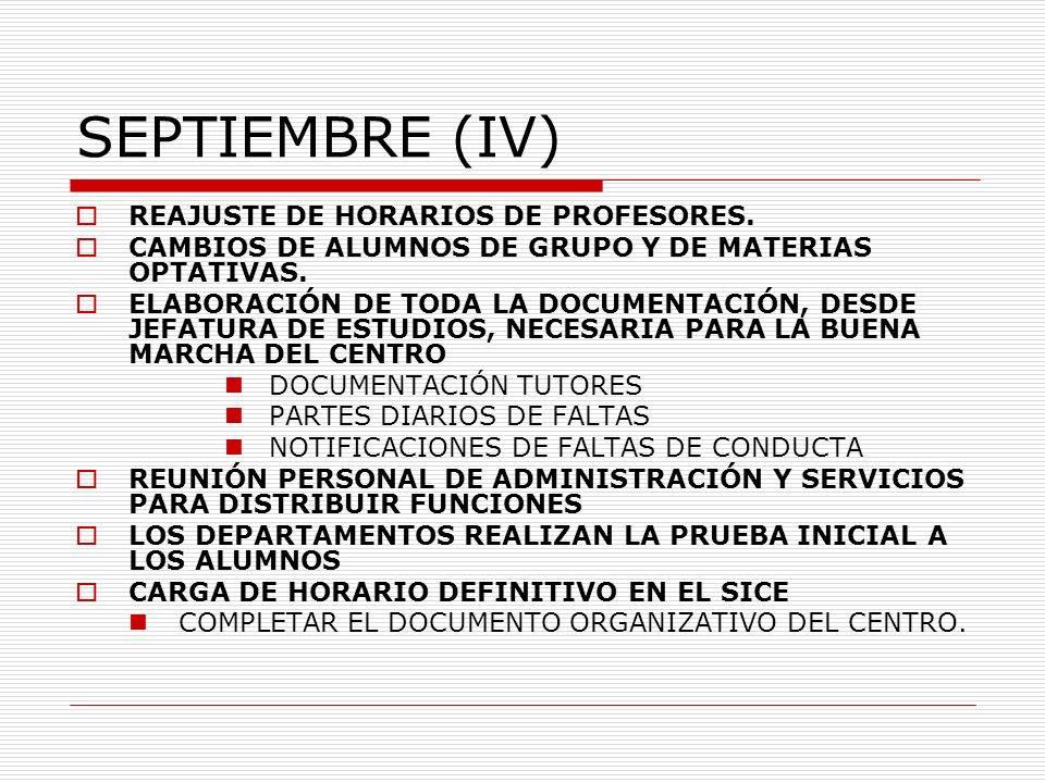 SEPTIEMBRE (IV) REAJUSTE DE HORARIOS DE PROFESORES. CAMBIOS DE ALUMNOS DE GRUPO Y DE MATERIAS OPTATIVAS. ELABORACIÓN DE TODA LA DOCUMENTACIÓN, DESDE J
