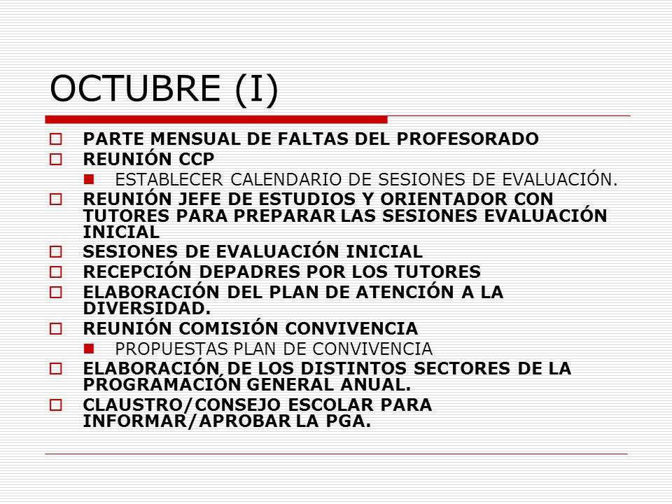 OCTUBRE (I) PARTE MENSUAL DE FALTAS DEL PROFESORADO REUNIÓN CCP ESTABLECER CALENDARIO DE SESIONES DE EVALUACIÓN. REUNIÓN JEFE DE ESTUDIOS Y ORIENTADOR