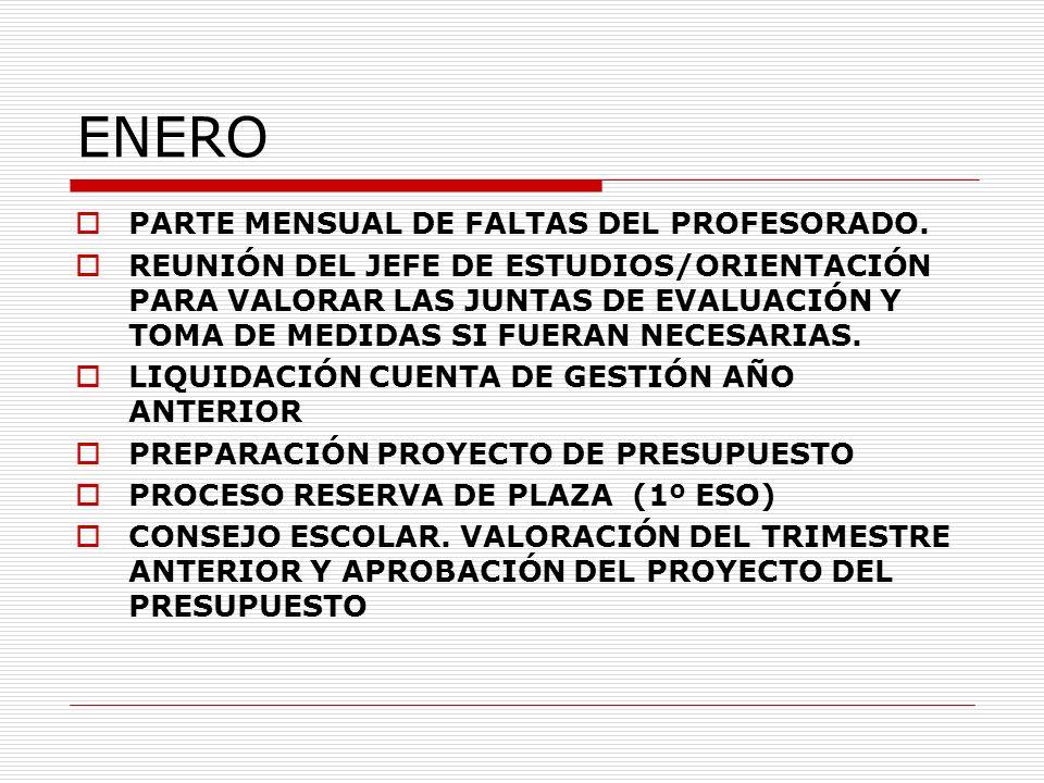 ENERO PARTE MENSUAL DE FALTAS DEL PROFESORADO. REUNIÓN DEL JEFE DE ESTUDIOS/ORIENTACIÓN PARA VALORAR LAS JUNTAS DE EVALUACIÓN Y TOMA DE MEDIDAS SI FUE