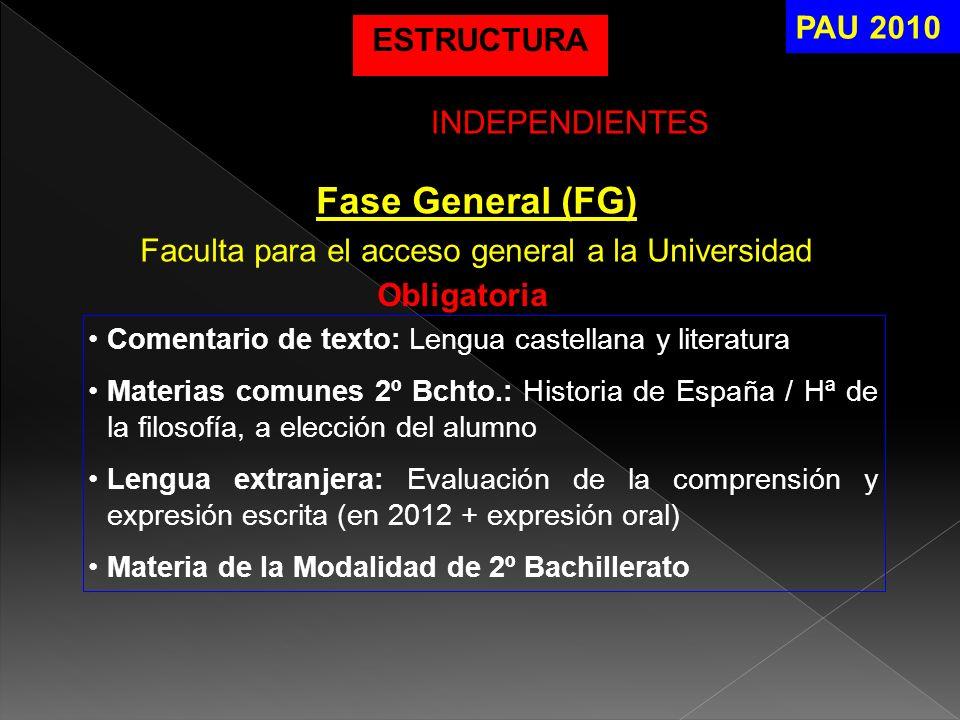 Fase General (FG) Faculta para el acceso general a la Universidad Obligatoria Comentario de texto: Lengua castellana y literatura Materias comunes 2º