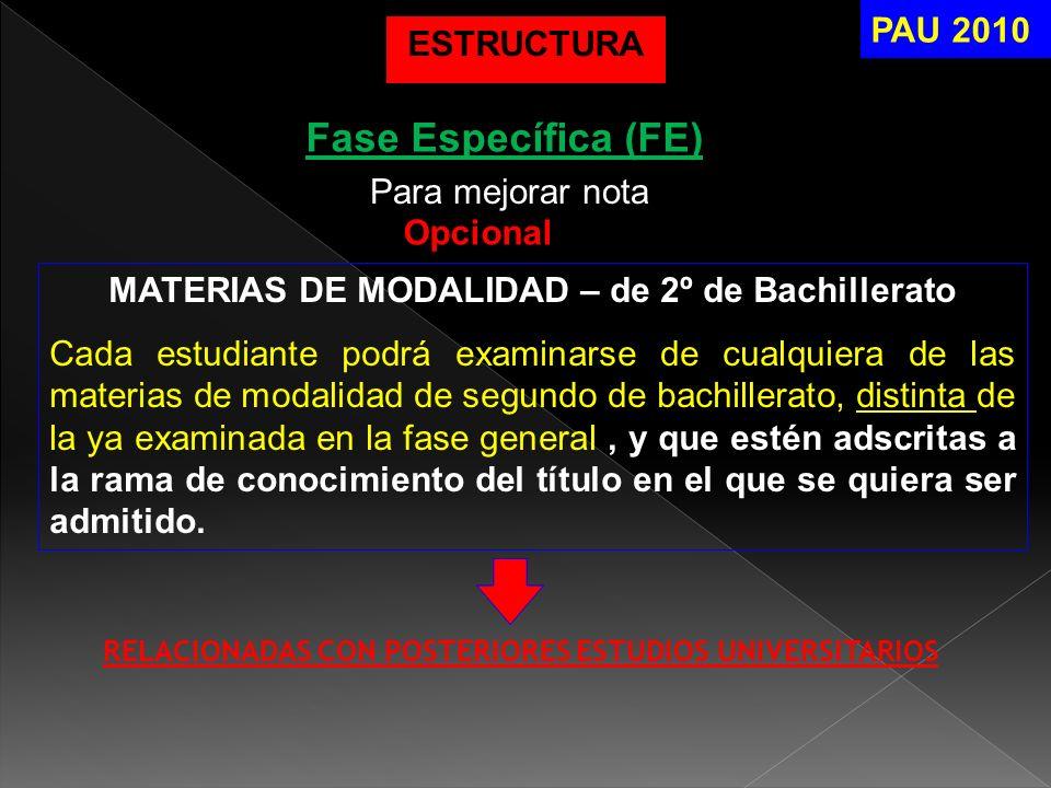 Fase Específica (FE) MATERIAS DE MODALIDAD – de 2º de Bachillerato Cada estudiante podrá examinarse de cualquiera de las materias de modalidad de segu