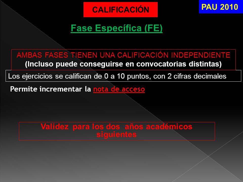 Permite incrementar la nota de acceso PAU 2010 Fase Específica (FE) CALIFICACIÓN Los ejercicios se califican de 0 a 10 puntos, con 2 cifras decimales