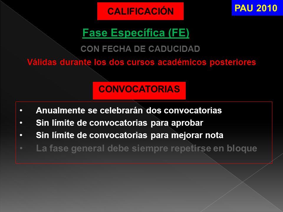 Válidas durante los dos cursos académicos posteriores CON FECHA DE CADUCIDAD PAU 2010 CALIFICACIÓN Fase Específica (FE) CONVOCATORIAS Anualmente se ce