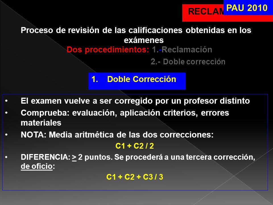 RECLAMACIONES Proceso de revisión de las calificaciones obtenidas en los exámenes Dos procedimientos: 1.-Reclamación 2.- Doble corrección PAU 2010 1.D