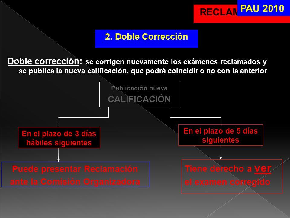RECLAMACIONES PAU 2010 2. Doble Corrección Doble corrección: se corrigen nuevamente los exámenes reclamados y se publica la nueva calificación, que po
