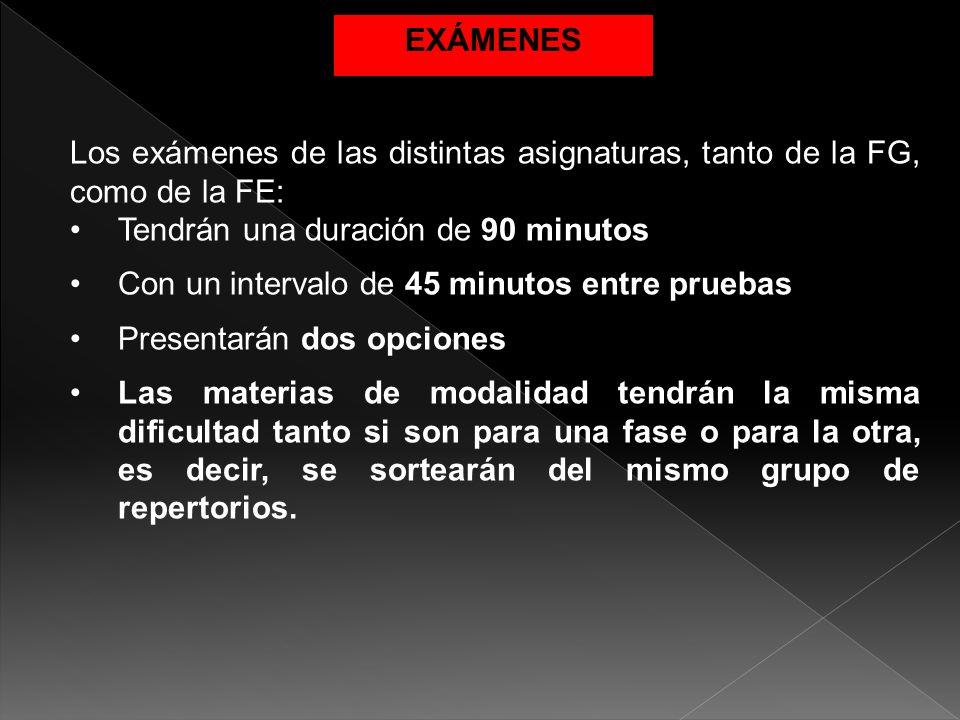 Los exámenes de las distintas asignaturas, tanto de la FG, como de la FE: Tendrán una duración de 90 minutos Con un intervalo de 45 minutos entre prue