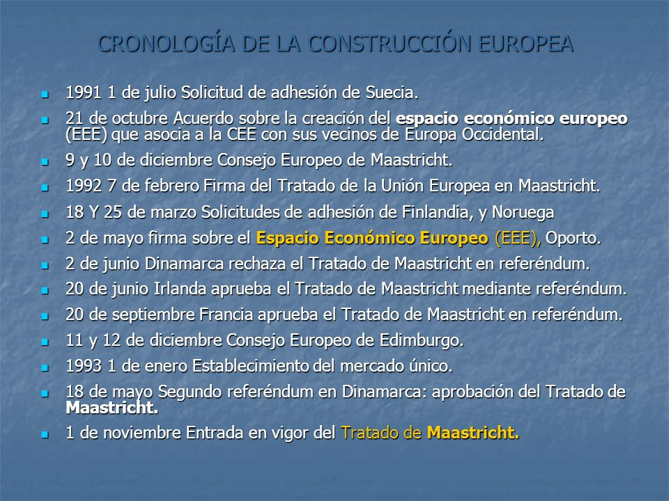 CRONOLOGÍA DE LA CONSTRUCCIÓN EUROPEA 1991 1 de julio Solicitud de adhesión de Suecia. 1991 1 de julio Solicitud de adhesión de Suecia. 21 de octubre