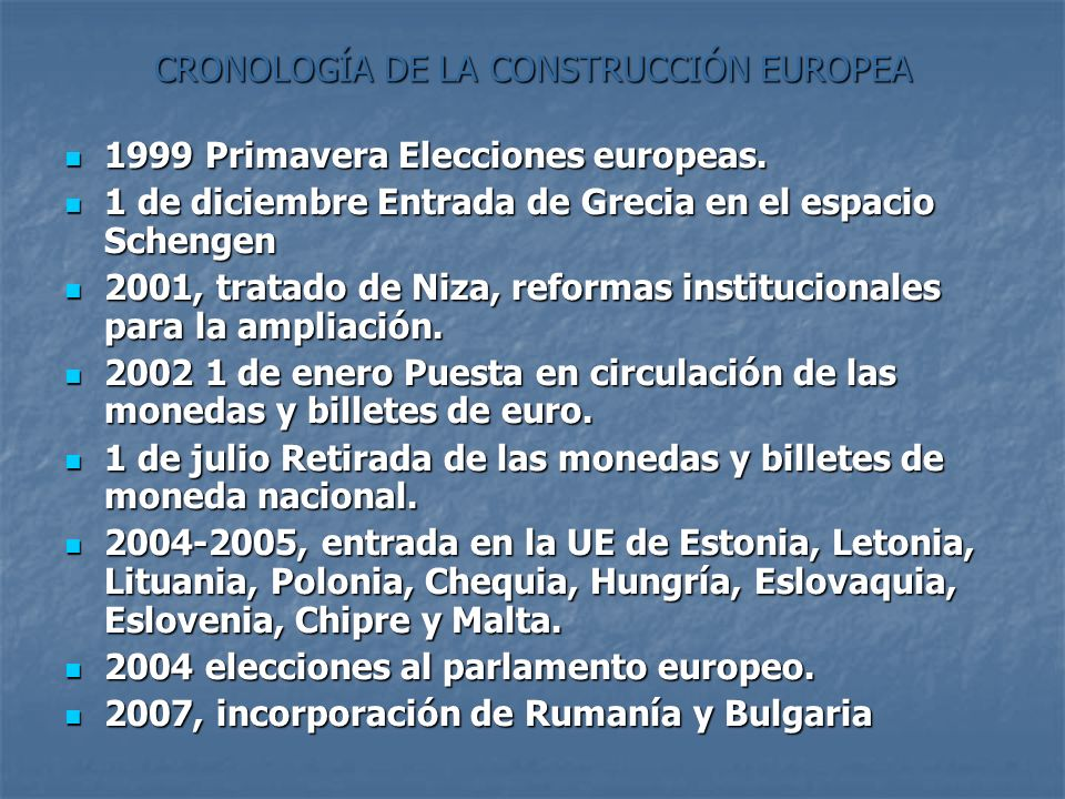 CRONOLOGÍA DE LA CONSTRUCCIÓN EUROPEA 1999 Primavera Elecciones europeas. 1999 Primavera Elecciones europeas. 1 de diciembre Entrada de Grecia en el e