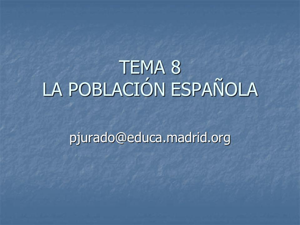 Tema 8 LA POBLACIÓN ESPAÑOLA INE.: anuarios, encuestas EPA, trimestral, con informes mensuales.