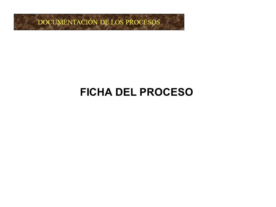 DOCUMENTACIÓN DE LOS PROCESOS FICHA DEL PROCESO