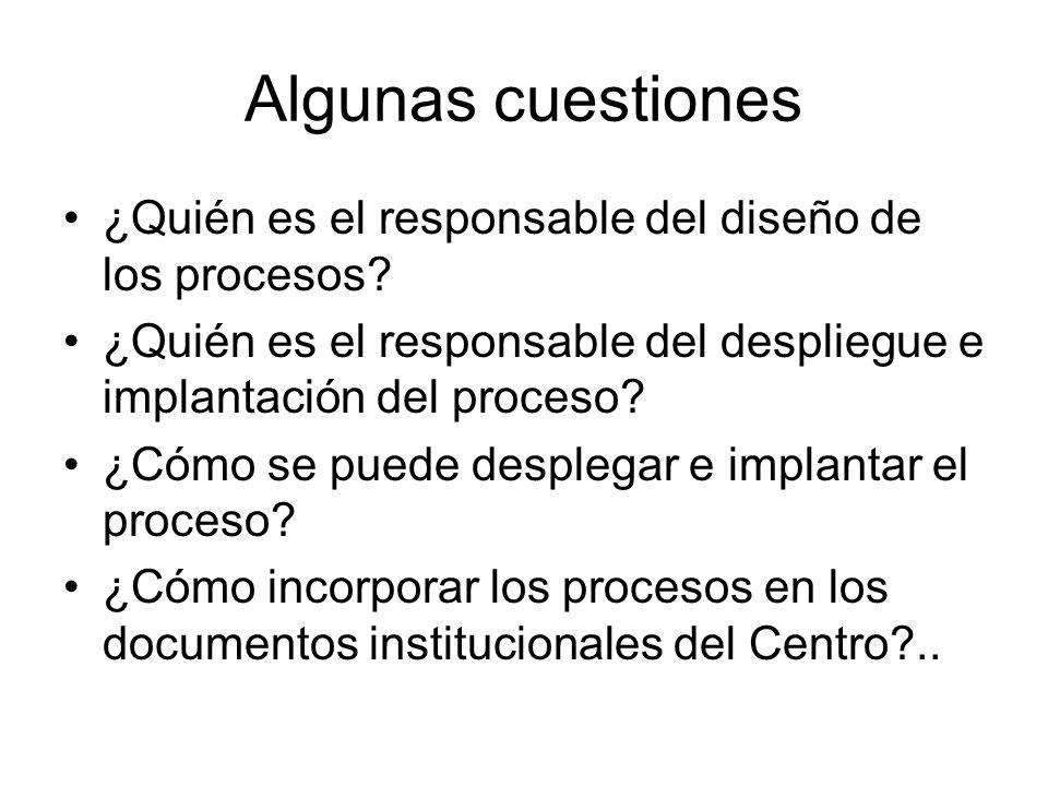 Algunas cuestiones ¿Quién es el responsable del diseño de los procesos? ¿Quién es el responsable del despliegue e implantación del proceso? ¿Cómo se p