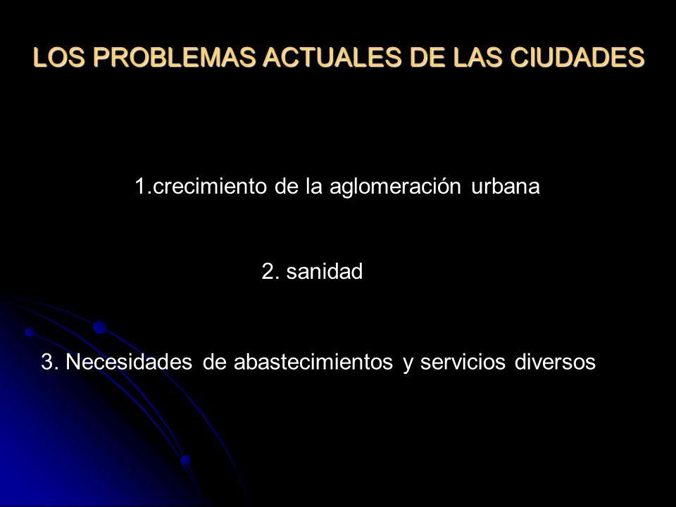 LOS PROBLEMAS ACTUALES DE LAS CIUDADES 1.crecimiento de la aglomeración urbana 2. sanidad 3. Necesidades de abastecimientos y servicios diversos