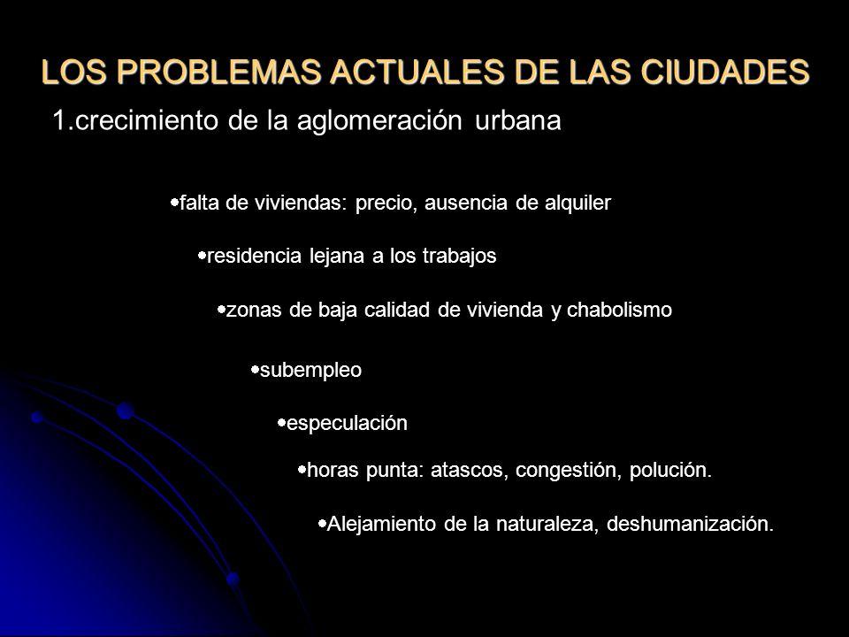 LOS PROBLEMAS ACTUALES DE LAS CIUDADES 1.crecimiento de la aglomeración urbana falta de viviendas: precio, ausencia de alquiler residencia lejana a lo