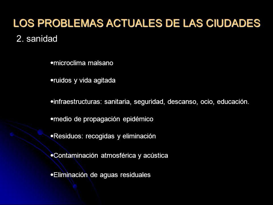 LOS PROBLEMAS ACTUALES DE LAS CIUDADES 2. sanidad microclima malsano ruidos y vida agitada infraestructuras: sanitaria, seguridad, descanso, ocio, edu