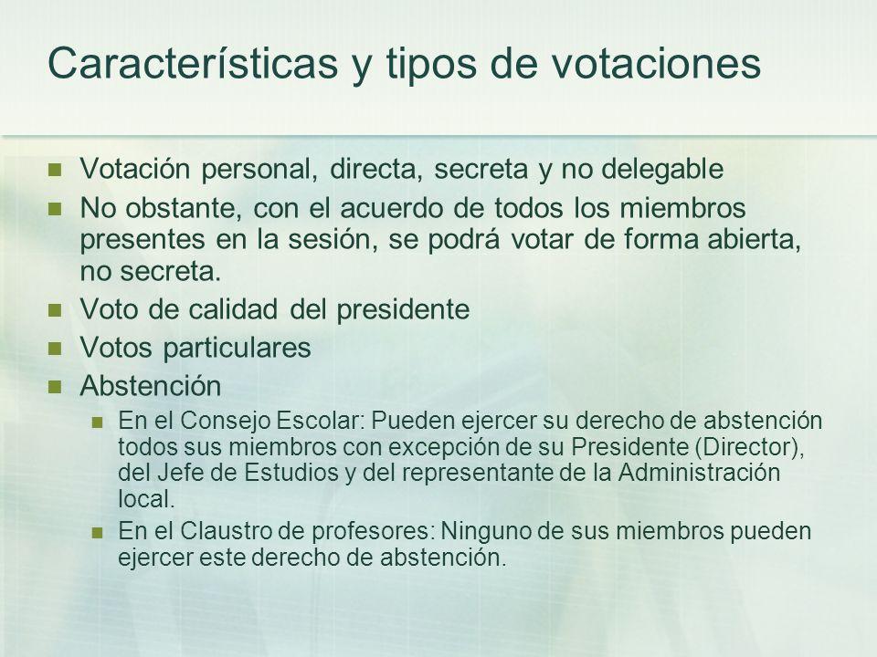Características y tipos de votaciones Votación personal, directa, secreta y no delegable No obstante, con el acuerdo de todos los miembros presentes e