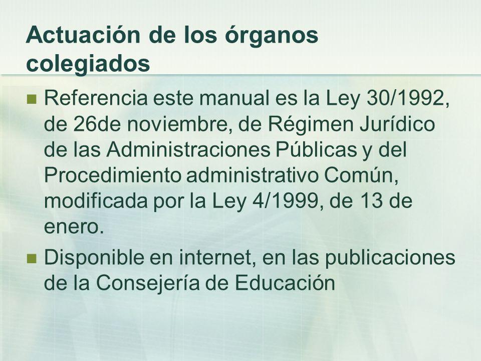 Funcionamiento de los órganos colegiados Proceso de actuación: a) Fase de convocatoria.