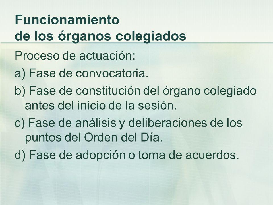 Funcionamiento de los órganos colegiados Proceso de actuación: a) Fase de convocatoria. b) Fase de constitución del órgano colegiado antes del inicio