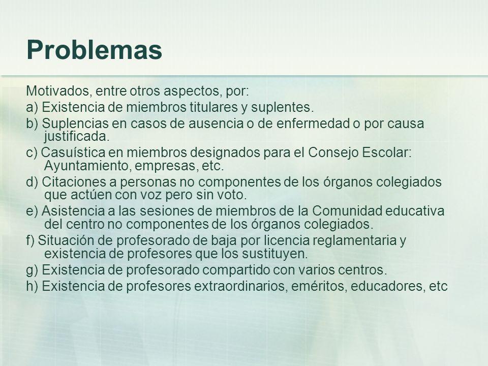 Problemas Motivados, entre otros aspectos, por: a) Existencia de miembros titulares y suplentes. b) Suplencias en casos de ausencia o de enfermedad o