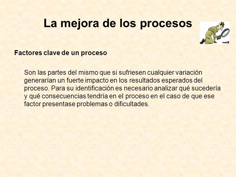 La mejora de los procesos Factores clave de un proceso Son las partes del mismo que si sufriesen cualquier variación generarían un fuerte impacto en l
