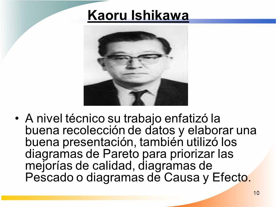 10 Kaoru Ishikawa A nivel técnico su trabajo enfatizó la buena recolección de datos y elaborar una buena presentación, también utilizó los diagramas d
