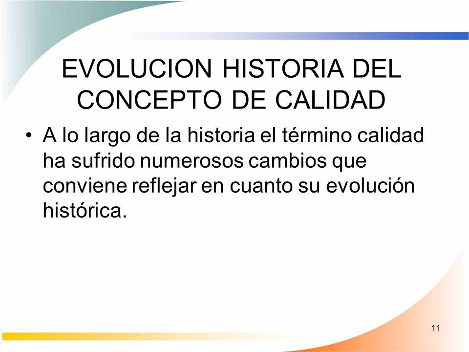 11 EVOLUCION HISTORIA DEL CONCEPTO DE CALIDAD A lo largo de la historia el término calidad ha sufrido numerosos cambios que conviene reflejar en cuant