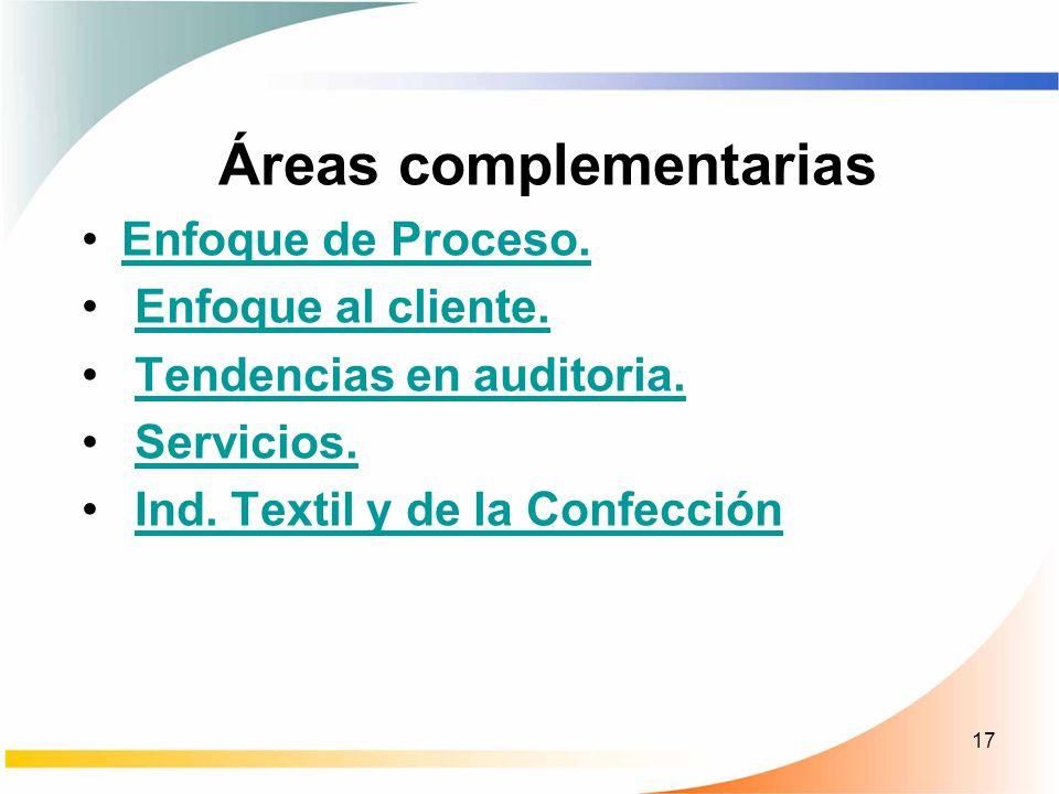 17 Áreas complementarias Enfoque de Proceso. Enfoque al cliente. Tendencias en auditoria. Servicios. Ind. Textil y de la Confección