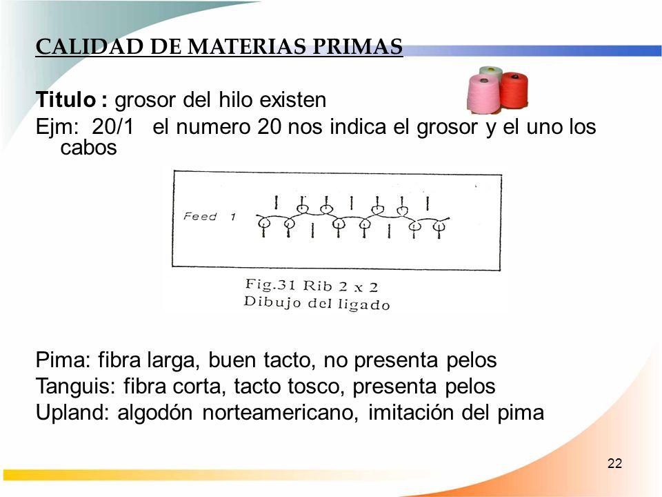 22 CALIDAD DE MATERIAS PRIMAS Titulo : grosor del hilo existen Ejm: 20/1 el numero 20 nos indica el grosor y el uno los cabos Pima: fibra larga, buen