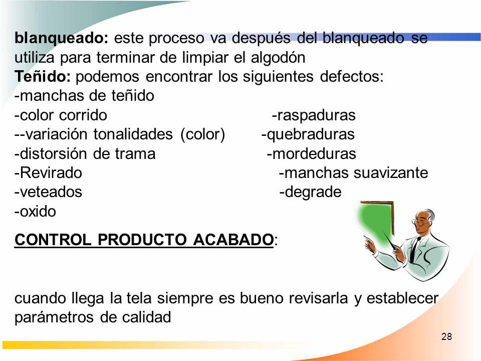 28 blanqueado: este proceso va después del blanqueado se utiliza para terminar de limpiar el algodón Teñido: podemos encontrar los siguientes defectos