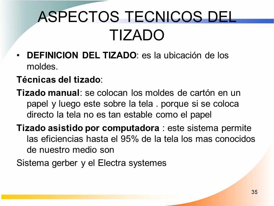 35 ASPECTOS TECNICOS DEL TIZADO DEFINICION DEL TIZADO: es la ubicación de los moldes. Técnicas del tizado: Tizado manual: se colocan los moldes de car