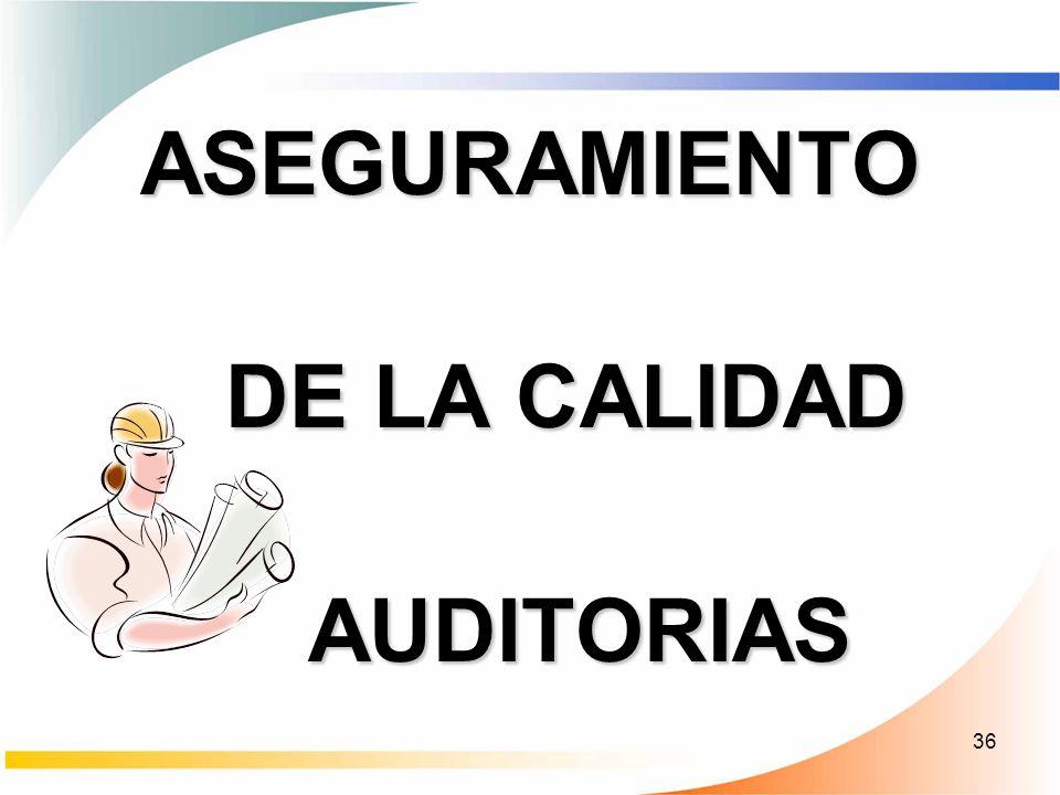 36 ASEGURAMIENTO DE LA CALIDAD DE LA CALIDAD AUDITORIAS AUDITORIAS