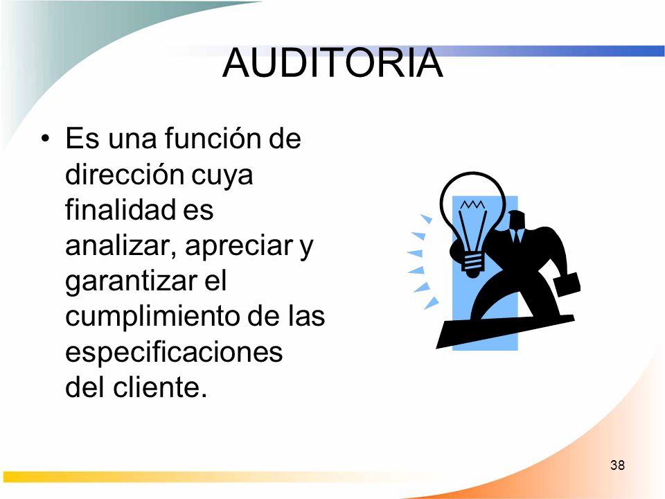 38 AUDITORIA Es una función de dirección cuya finalidad es analizar, apreciar y garantizar el cumplimiento de las especificaciones del cliente.