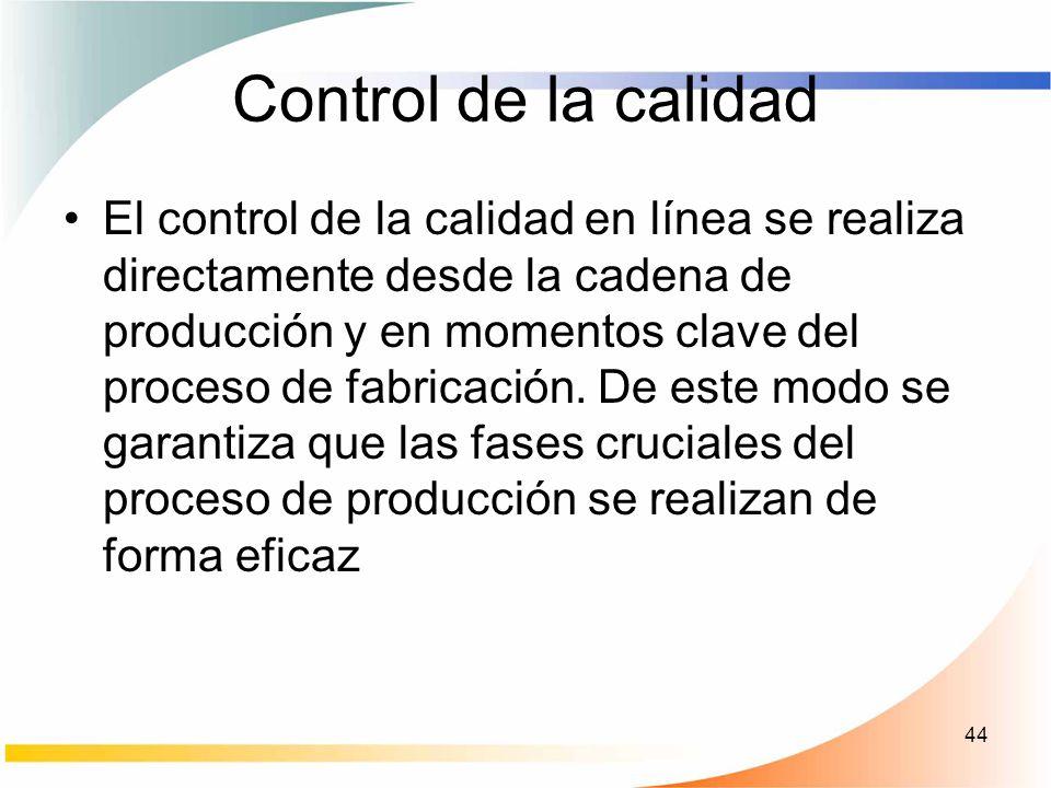 44 Control de la calidad El control de la calidad en línea se realiza directamente desde la cadena de producción y en momentos clave del proceso de fa
