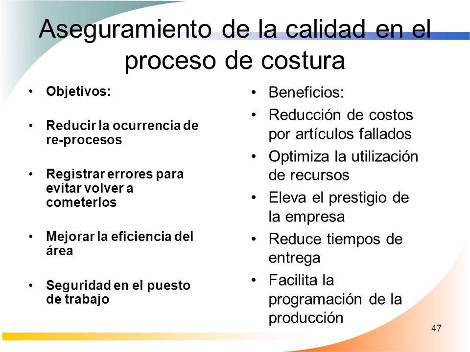47 Aseguramiento de la calidad en el proceso de costura Objetivos: Reducir la ocurrencia de re-procesos Registrar errores para evitar volver a cometer