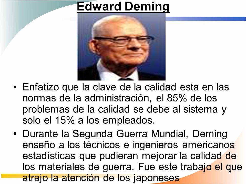 8 Edward Deming Enfatizo que la clave de la calidad esta en las normas de la administración, el 85% de los problemas de la calidad se debe al sistema