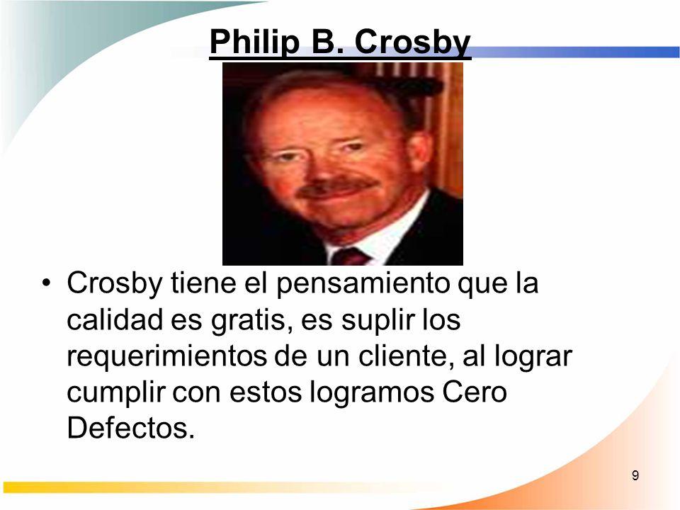9 Philip B. Crosby Crosby tiene el pensamiento que la calidad es gratis, es suplir los requerimientos de un cliente, al lograr cumplir con estos logra