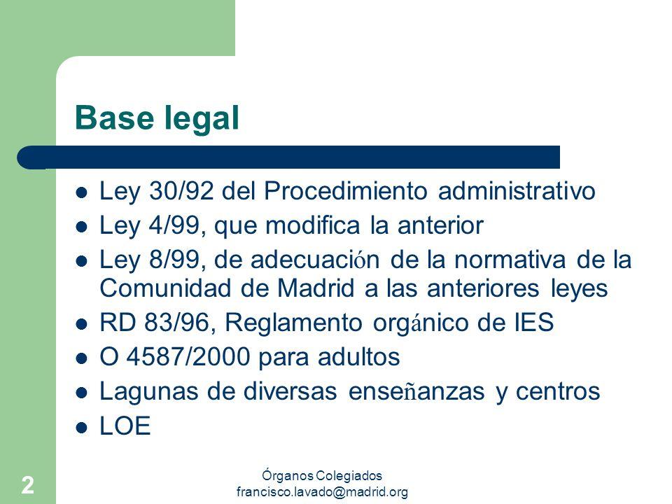 Órganos Colegiados francisco.lavado@madrid.org 2 Base legal Ley 30/92 del Procedimiento administrativo Ley 4/99, que modifica la anterior Ley 8/99, de
