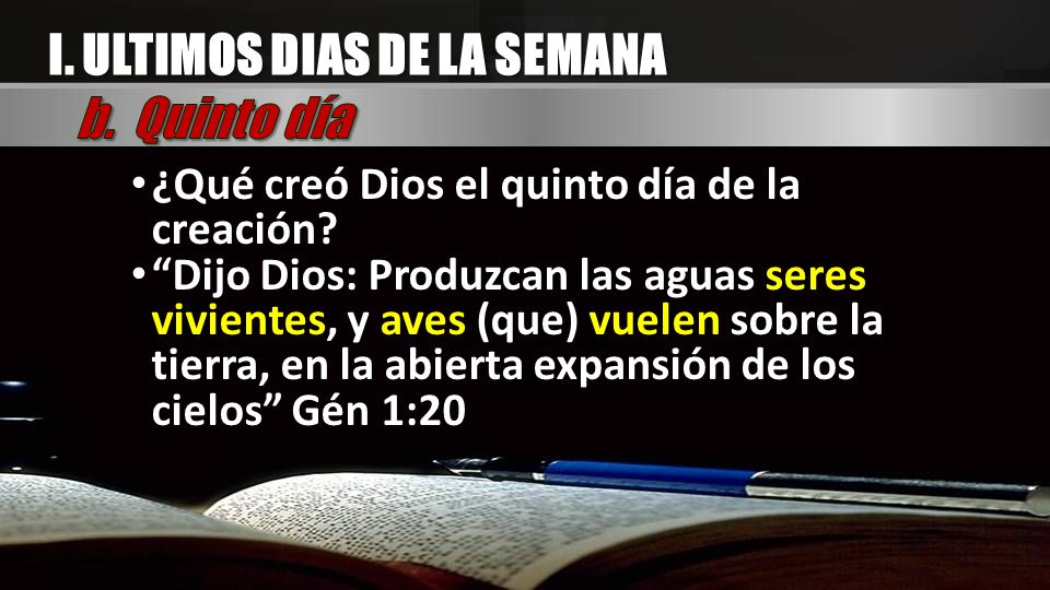 ¿Qué creó Dios el quinto día de la creación? ¿Qué creó Dios el quinto día de la creación? Dijo Dios: Produzcan las aguas seres vivientes, y aves (que)