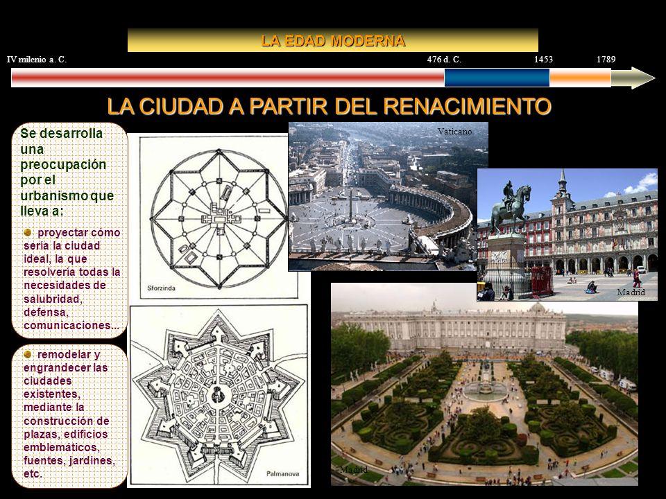 Madrid IV milenio a. C.476 d. C.14531789 LA EDAD MODERNA LA CIUDAD A PARTIR DEL RENACIMIENTO Se desarrolla una preocupación por el urbanismo que lleva