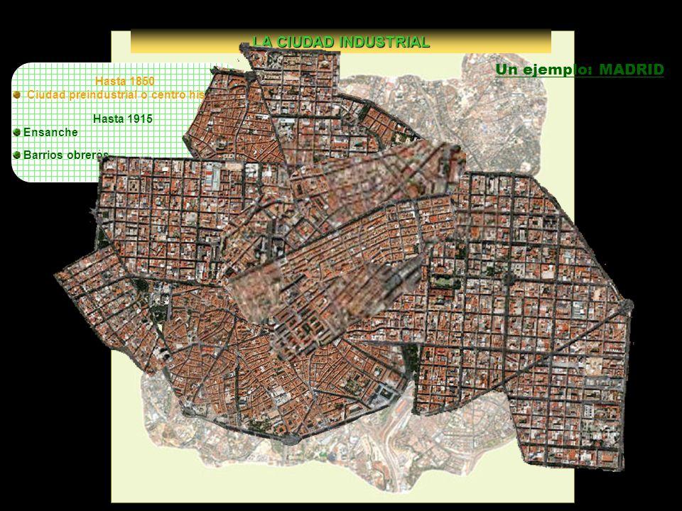 Hasta 1850 Ciudad preindustrial o centro histórico Ciudad preindustrial o centro histórico LA CIUDAD INDUSTRIAL Hasta 1915 Ensanche Barrios obreros Ba