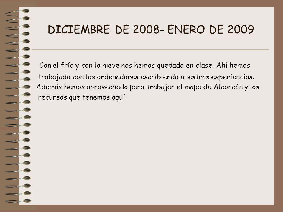 DICIEMBRE DE 2008- ENERO DE 2009 Con el frío y con la nieve nos hemos quedado en clase. Ahí hemos trabajado con los ordenadores escribiendo nuestras e