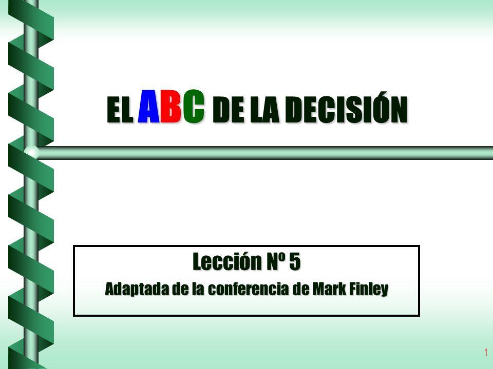 1 EL ABC DE LA DECISIÓN Lección Nº 5 Adaptada de la conferencia de Mark Finley