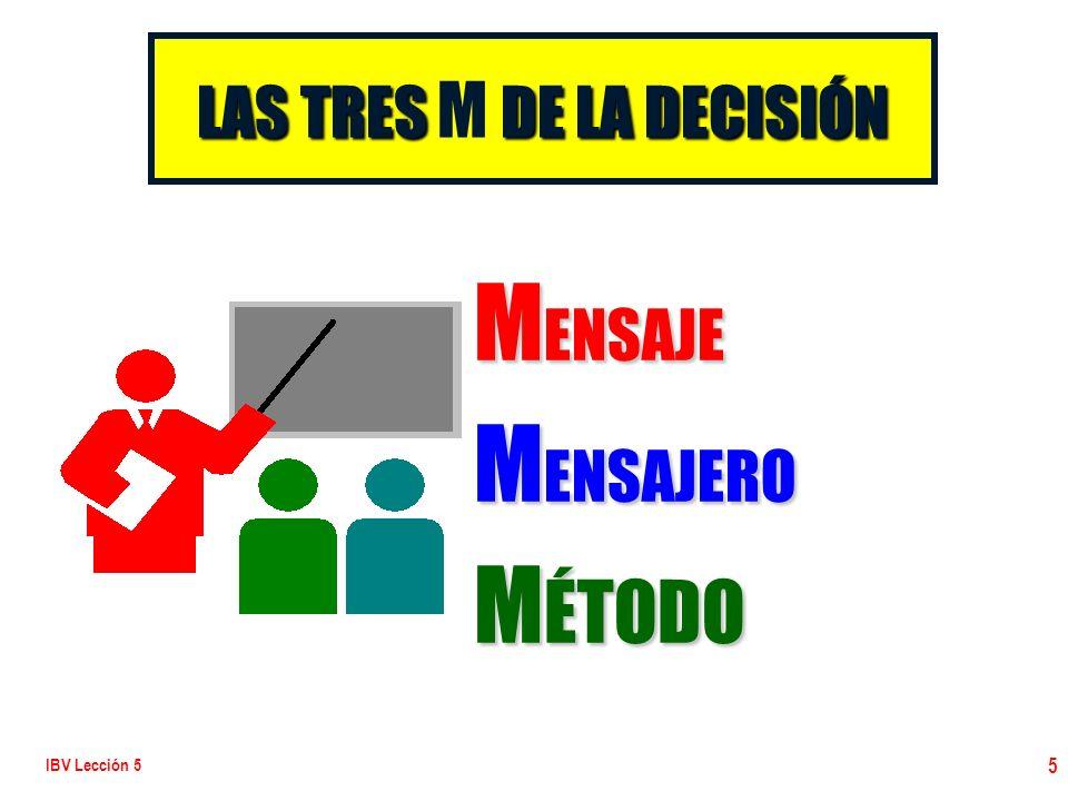 IBV Lección 5 5 LAS TRES DE LA DECISIÓN LAS TRES M DE LA DECISIÓN M ENSAJE M ENSAJERO M ÉTODO