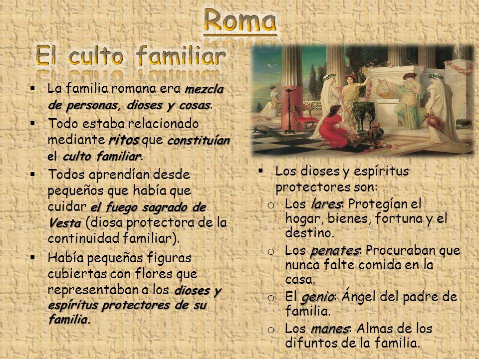 mezcla de personas, dioses y cosas La familia romana era mezcla de personas, dioses y cosas. ritos constituían culto familiar Todo estaba relacionado