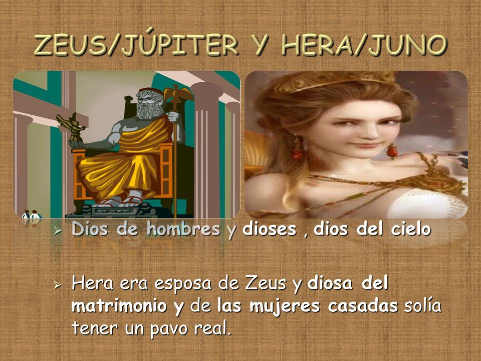 Dios de hombres y dioses, dios del cielo Dios de hombres y dioses, dios del cielo Hera era esposa de Zeus y diosa del matrimonio y de las mujeres casa