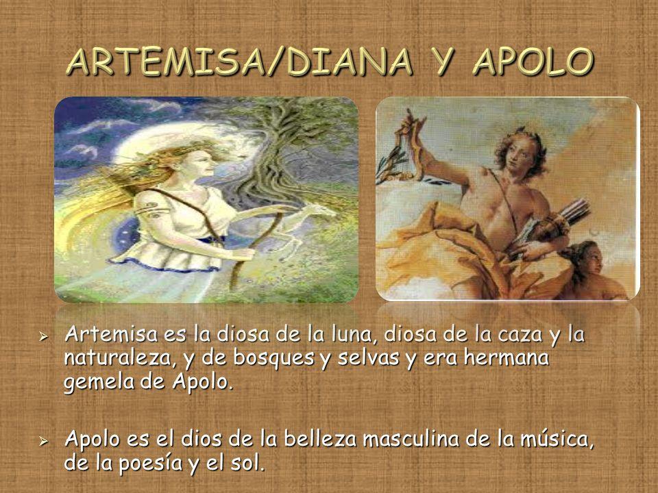 Artemisa es la diosa de la luna, diosa de la caza y la naturaleza, y de bosques y selvas y era hermana gemela de Apolo. Artemisa es la diosa de la lun