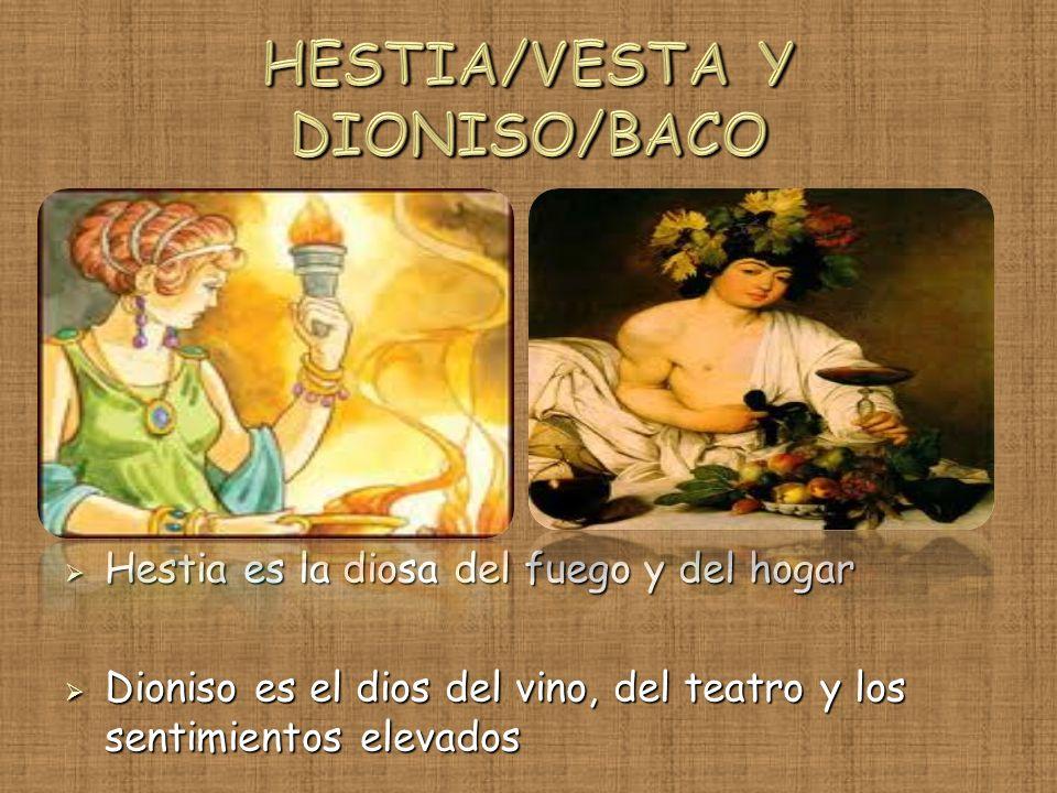 Hestia es la diosa del fuego y del hogar Hestia es la diosa del fuego y del hogar Dioniso es el dios del vino, del teatro y los sentimientos elevados