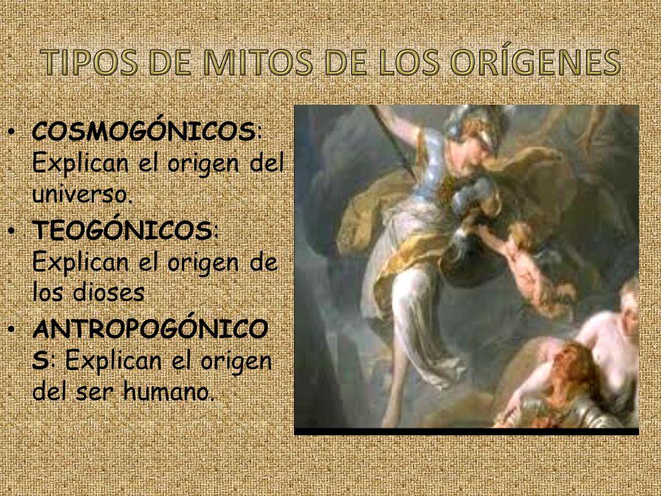 COSMOGÓNICOS: Explican el origen del universo. TEOGÓNICOS: Explican el origen de los dioses ANTROPOGÓNICO S: Explican el origen del ser humano.